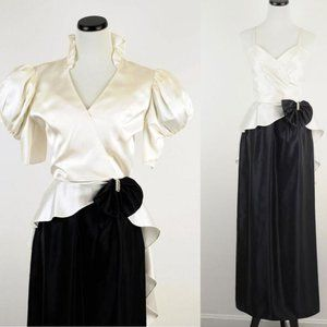 VTG 80s black and white 2-piece Party Dress